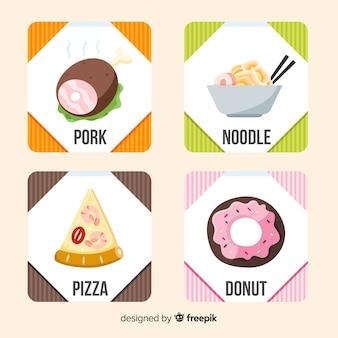 Colección de tarjetas de comida