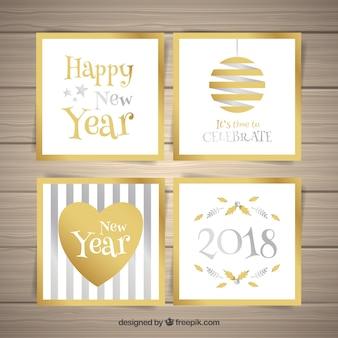 Colección de tarjetas cuadradas doradas y plateadas