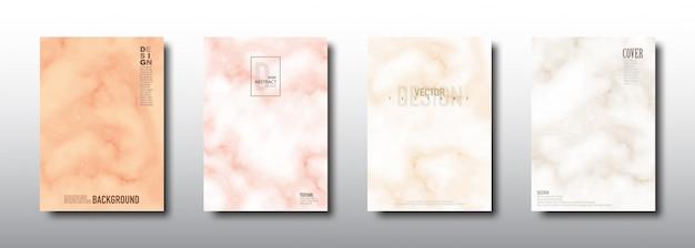 Colección de tarjetas de cubierta de color suave de textura de mármol de patrones sin fisuras
