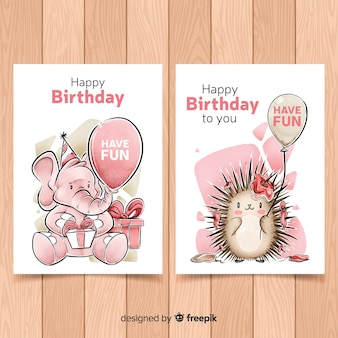 Colección de tarjetas de cumpleaños en acuarela