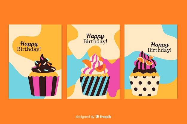 Colección de tarjetas de cumpleaños dibujada a mano