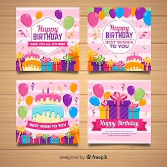 Colección de tarjetas de cumpleaños dibujadas a mano