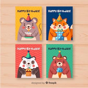 Colección de tarjetas de cumpleaños dibujado a mano