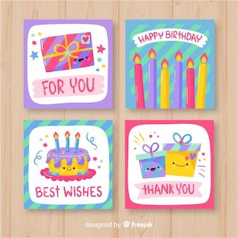 Colección de tarjetas de cumpleaños dibujados a mano