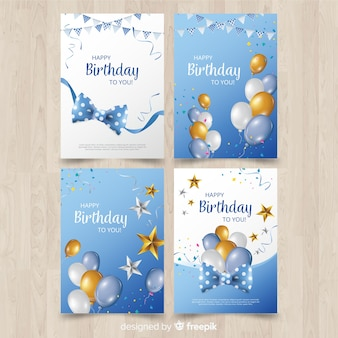 Colección de tarjetas de cumpleaños en diseño plano