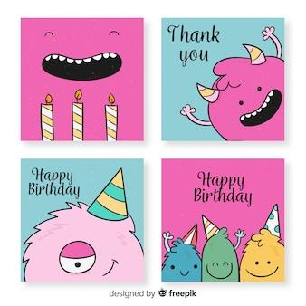 Colección de tarjetas de cumpleaños divertidas dibujadas a mano
