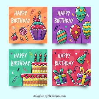 Colección de tarjetas de cumpleaños con elementos de fiesta