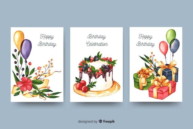 Colección de tarjetas de cumpleaños en estilo acuarela.