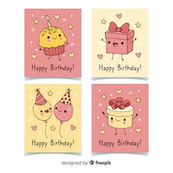Colección de tarjetas de cumpleaños en estilo dibujado a mano.