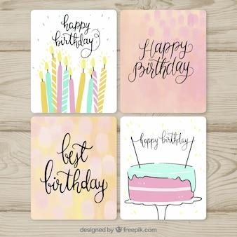 Colección de tarjetas de cumpleaños en estilo hecho a mano