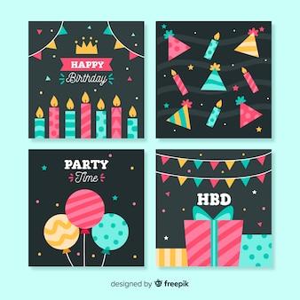 Colección de tarjetas de cumpleaños en estilo plano.