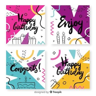 Colección de tarjetas de cumpleaños con formas abstractas