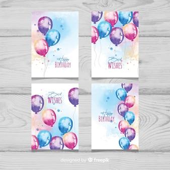 Colección de tarjetas de cumpleaños de globos de acuarela