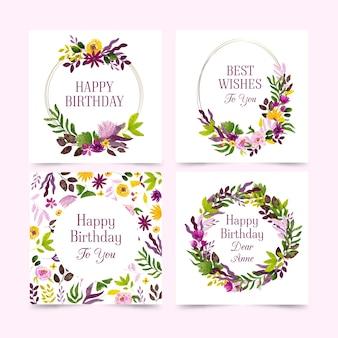 Colección de tarjetas de cumpleaños con paquete de flores