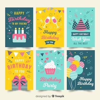 Colección tarjetas cumpleaños planas