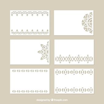 Colección de tarjetas decorativas con corte láser