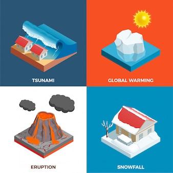 Colección de tarjetas de desastres naturales