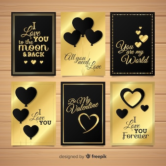 Colección tarjetas detalles dorados san valentín