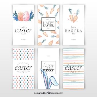 Colección de tarjetas del día de pascua de acuarela