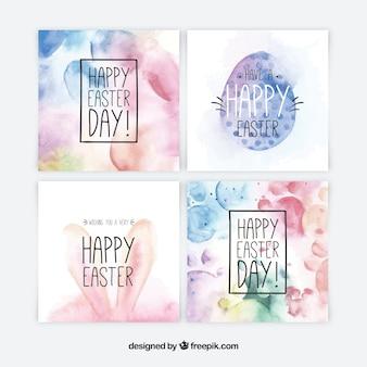 Colección de tarjetas del día de pascua en acuarela