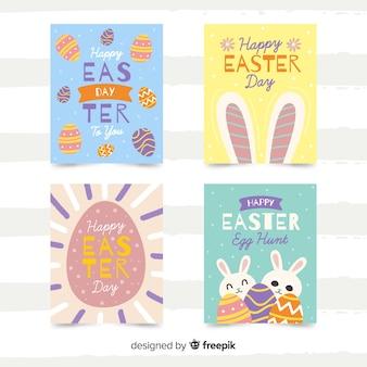Colección de tarjetas del día de pascua dibujadas a mano