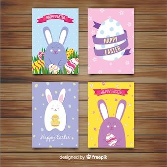 Colección de tarjetas del día de pascua en diseño plano