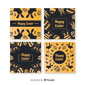 Colección de tarjetas del día de pascua doradas y negras
