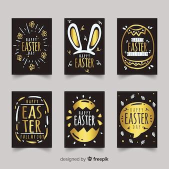 Colección de tarjetas del día de pascua negra y dorada