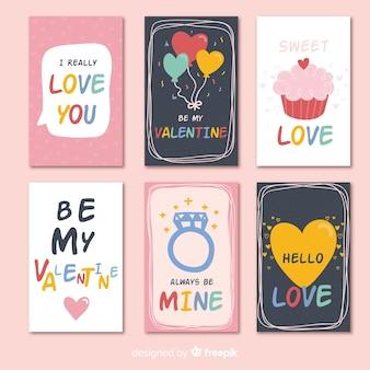 Colección tarjetas día de san valentín coloridas