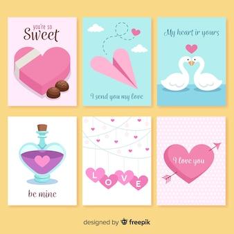 Colección tarjetas día de san valentín