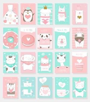 Colección de tarjetas del día de san valentín