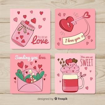 Colección tarjetas dibujadas a mano san valentín