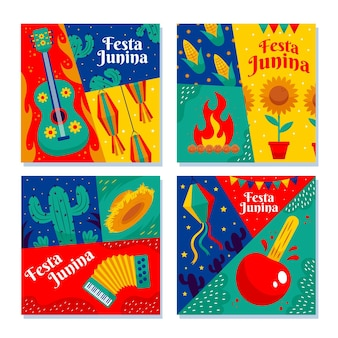 Colección de tarjetas de dibujos animados festa junina