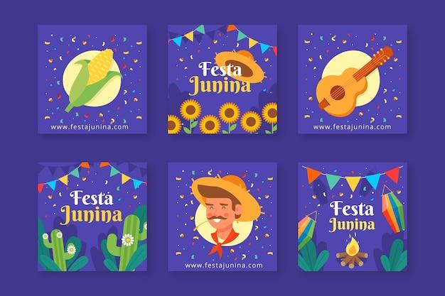 Colección de tarjetas de diseño plano festa junina