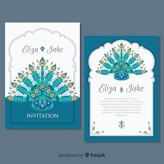 Colección de tarjetas con diseños elegantes de pavo real