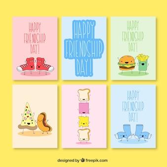 Colección de tarjetas divertidas del día de la amistad dibujadas a mano