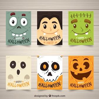 Colección de tarjetas divertidas de halloween