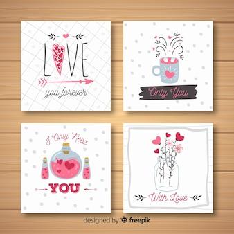 Colección tarjetas elementos san valentín dibujados a mano