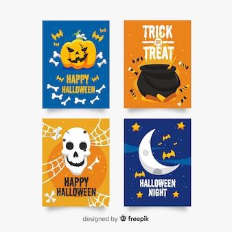 Colección de tarjetas con elementos de terror de halloween