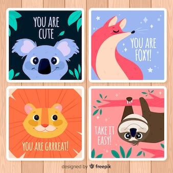Colección de tarjetas de felicitación con animales salvajes. eres genial