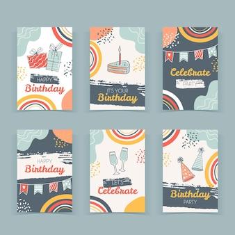 Colección de tarjetas de felicitación de cumpleaños dibujadas a mano vector gratuito