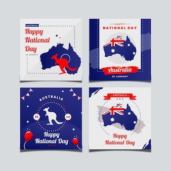 Colección de tarjetas de felicitación día de australia
