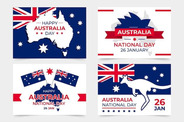 Colección de tarjetas de felicitación del día de australia