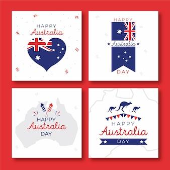 Colección de tarjetas de felicitación evento del día de australia