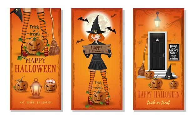 Colección de tarjetas de felicitación de halloween. banners verticales para halloween. come, bebe, ten miedo