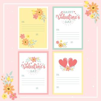 Colección de tarjetas de felicitación de letras de caligrafía de san valentín