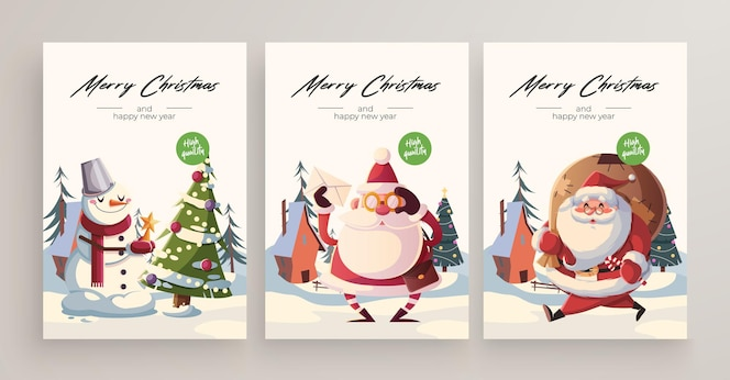 Colección de tarjetas de felicitación de navidad y año nuevo 2020. lindos personajes y situaciones con temática navideña.