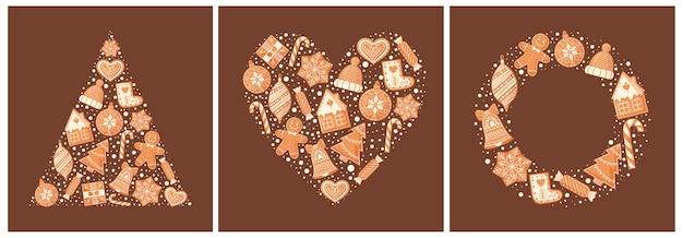 Colección de tarjetas de felicitación navideñas con galletas de jengibre
