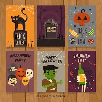 Colección de tarjetas de felicitaciónes de halloween