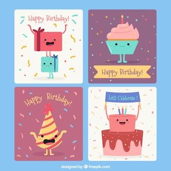 Colección de tarjetas de feliz cumpleaños con lindas ilustraciones